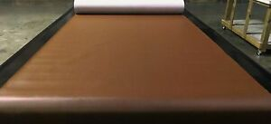 """15 YARDS WALNUT BROWN FAUX LEATHER AUTO UPHOLSTERY FABRIC VINYL 54""""W PLEATHER"""
