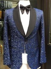 Blue and black floral silk and wool shawl lapel tuxedo made in Italy