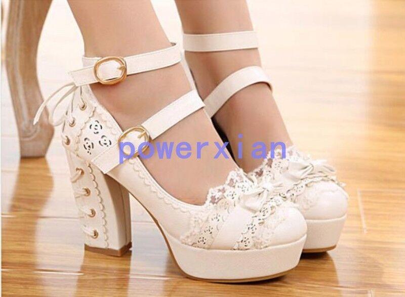 Womens Lolita Platform High Block Heel Buckle Buckle Heel Bowknot Fashion Pumps Shoes 5-9 d36b1c