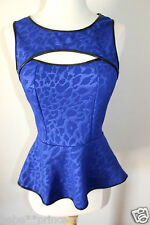 NWT bebe leopard print blue cutout ruffle peplum dress tank top sexy XS 0 2 hot