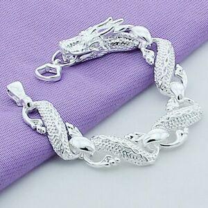 Drachen-Armband-925-Sterling-Silber-plattiert-Schmuck-Drache-Damen-Herren