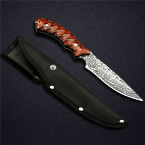 Handmade-Hunting-Knife-Custom-Forge-Damascus-Pattern-Stainles-Steel-Fixed-Blade