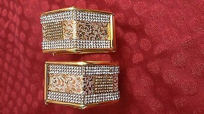 Indian Bridal Bollywood Fashion Jewelry Adjustable Gold Plated Bangles(Set of 2)
