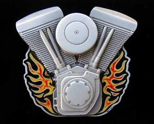 HARLEY-V-TWIN-WITH-FLAMES-BELT-BUCKLE-BUCKLES