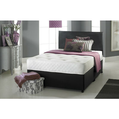 Leather Divan Bed + Pocket Sprung Mattress + Leather Headboard -COMPLETE BED SET
