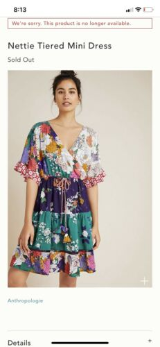 NWT ANTHROPOLOGIE Nettie Tiered Mini Dress Floral