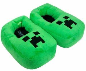 Minecraft-Creeper-Boy-039-s-Slipper-3D-Green-Plush-Novelty-Footwear-Slip-On-for-Kids