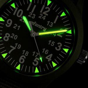 INFANTRY-Mens-Quartz-Wrist-Watch-Luminous-Thin-Sport-Military-Army-Green-Nylon
