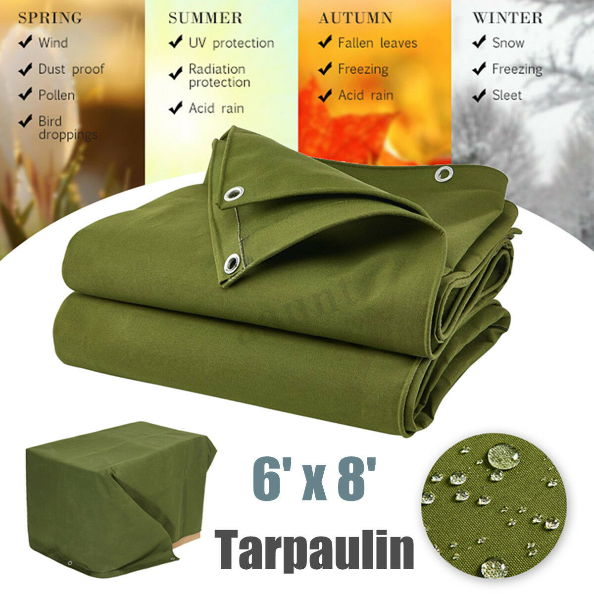 1.8M x 2.4M Heavy Duty Canvas Tarp Tarpaulin Waterproof Dustproof Outdoor Green