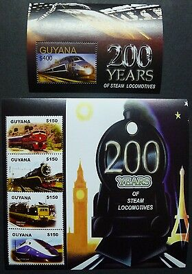 Guyana Briefmarken Gutherzig Guyana 2004 Eisenbahn Trains Railroads Dampflokomotiven I 7722-25 Block 780 Mnh