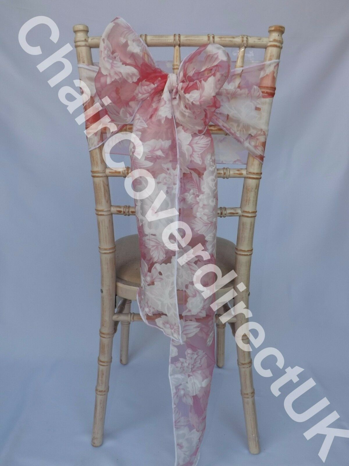 100 Rose Blanc Vintage Floral Organza Chair Cover Wedding Sash