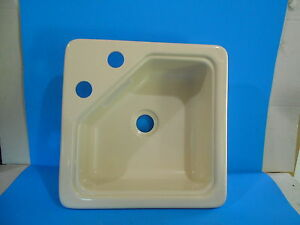 "*15"" X 15"" PLASTIC LAVATORY CORNER SINK RV PARCHMENT FREE SHIPPING"