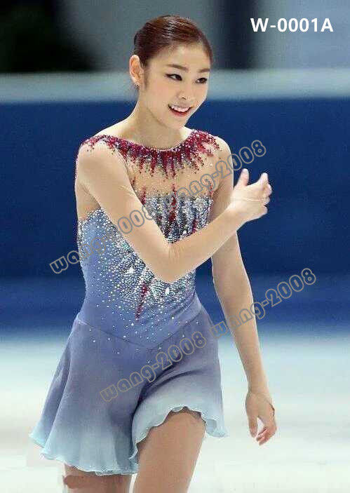 Adult Ice Skating Dress  Figure skating Twinkling Gymnastics Dance Costume  Y002  authentic quality
