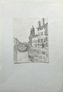 Dibujo-Venecia-Venezia-casas-el-canal-Navile-con-puente-italia-25-x-36-cm
