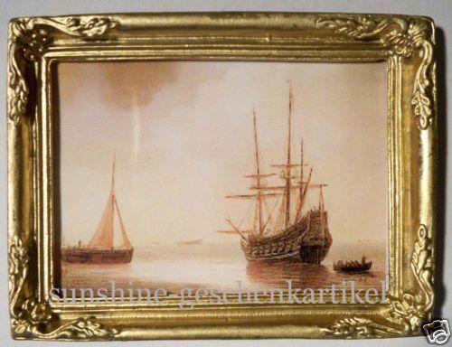 in feinem Goldrahmen 1:12 Bild mit alten Schiffen