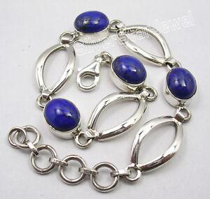 925-Sterling-Silver-High-End-LAPIS-LAZULI-Gemstones-BESTSELLER-Bracelet-7-7-034
