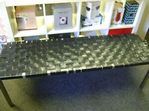 Black Leather Strap Bench Weave Pattern Chrome Ottoman