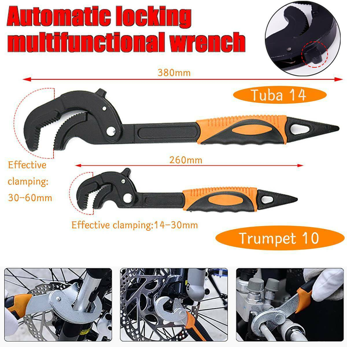 2PC 14-30mm 30-60mm Adjustable Wrench Spanner Set Quick Snap and Grip Hand Tools