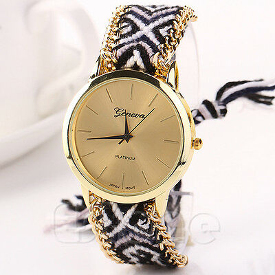 New Women Classic Geneva Ethnic Braided Analog Quartz Chain Bracelet Wrist Watch