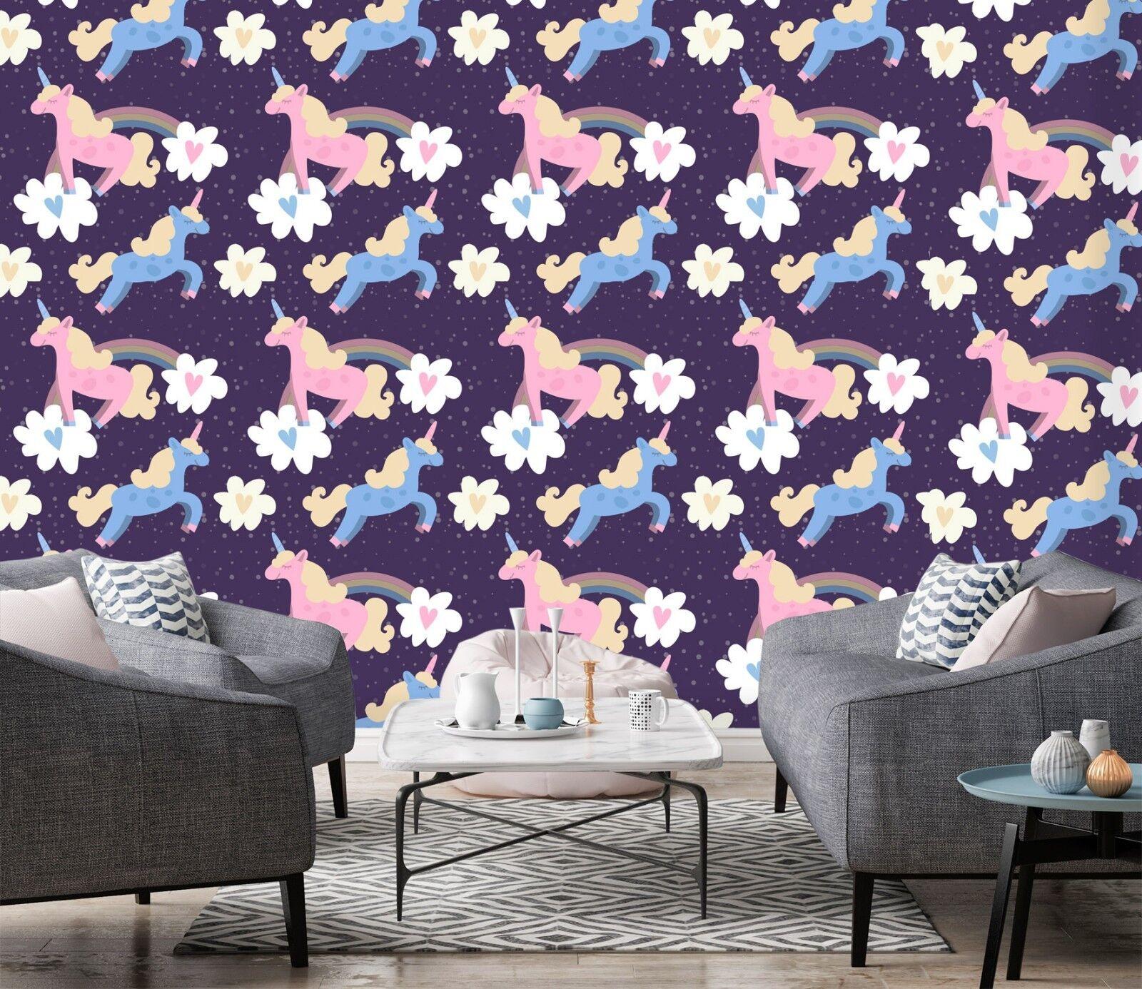 3D Rainbow Unicorn Cloud 21 Wallpaper Mural Wall Print Decal Indoor Murals AU