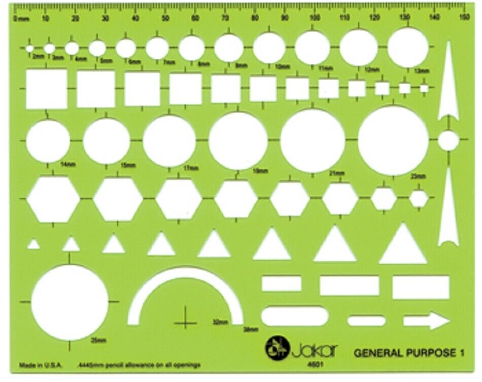 Jakar Professional Circle Template Stencil 1-36 mm with Metric Ruler Edge 4006
