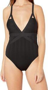 Athena NEW Black Womens Size 10 Striped Textured One-Piece Swimwear $120 411