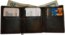 Trifold Leather Man's wallet 9 credit card 2 billfold roomy zip change purse bn