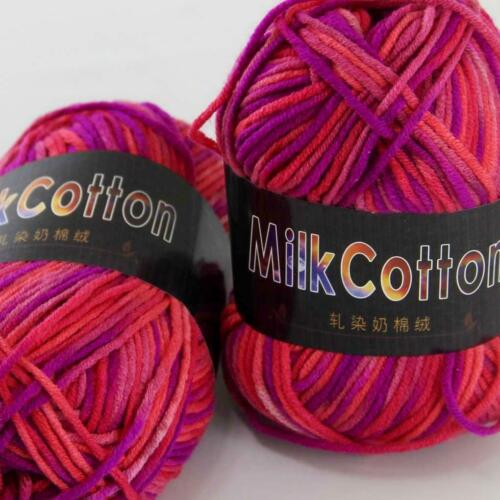 Colorido 2 ballsx 50g Algodón Suave Bebé a mano teñido de Calcetines de Lana Bufanda De Hilo De Ganchillo 16