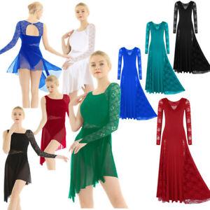 Women-Ladies-Ballet-Lyrical-Dance-Dress-Long-Sleeve-Lace-Waltz-Modern-Dancewear