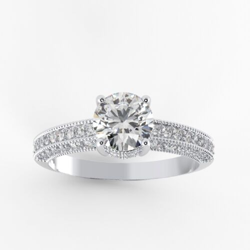 Details about  /925 Silver Ring White Gold Plated Moissanite Fine Jewelry