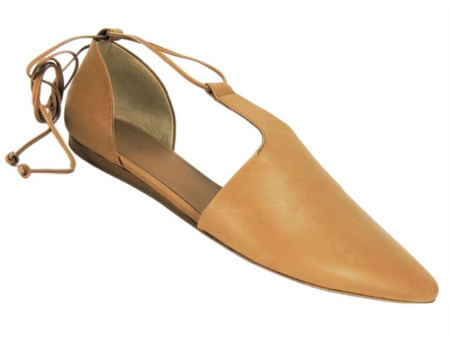 887daeefdd3 Vince Women's Noella Pointed-Toe d'Orsay flats Sand Leather Size 7 M