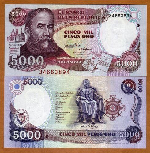 P-435a 1987 Pesos 5,000 Colombia 5000 UNC