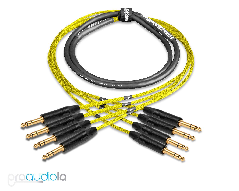 Premium 4 Channel Mogami 2931 Snake   Neutrik Gold 1 4  TRS   Gelb 250 Feet