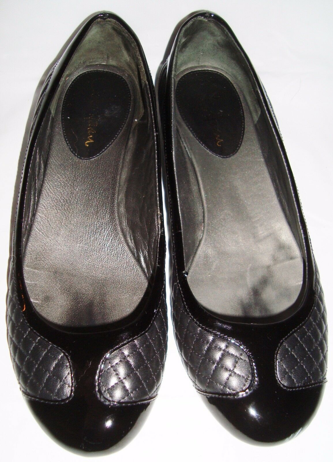 Cole Haan Black Leather Quilted Patent Ballet Flats 7.5 shoes
