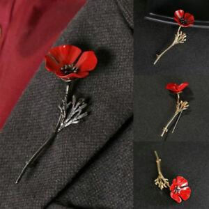 Enamel Remembrance Brooch Red Poppy Flower Lapel Pin Broach Pins