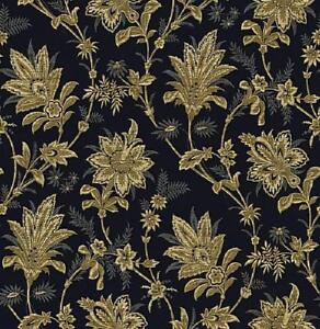 Wallpaper-Traditional-Jacobean-Floral-Vine-Tan-Beige-on-Dark-Navy-Blue-Bankgroun