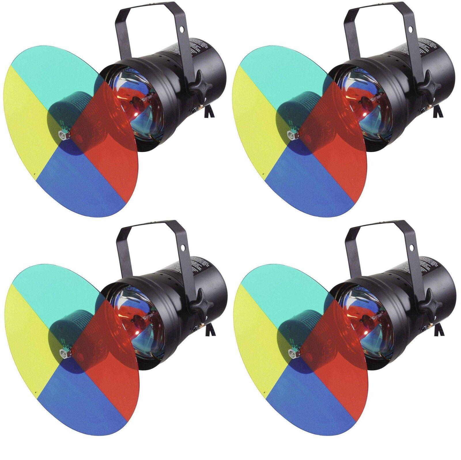 4 x Farbwechsler-Set PAR-36 mit Farbrad   Farbscheibe, Leuchtmittel Pinspot NEU