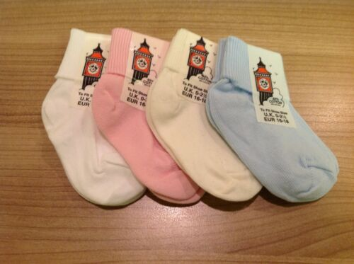 SOCKS UK baby Clothing 6 pairs of turn down top ankle socks boys girls colours.