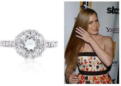 Celebrity Style 1 Ct CZ Round Halo Anniversary Engagement Wedding Ring~Size 9