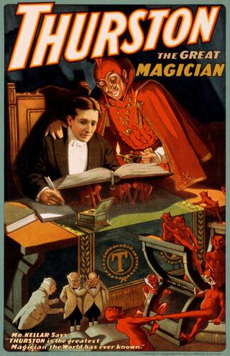 C THURSTON VINTAGE MAGICIAN POSTER FANTASTIC