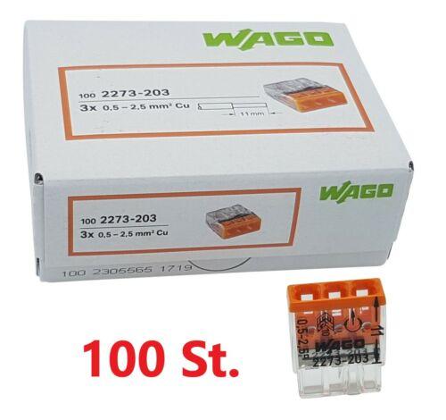 100 Stück Wago Steckklemme 3 fach orange 2273-203 Dosenklemmen Compact