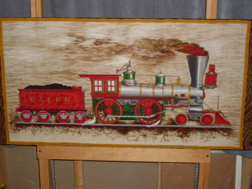 "Vintage Railroad Locomotive Wall Hanging. Lg 21"" x 42"" full of color and life!"