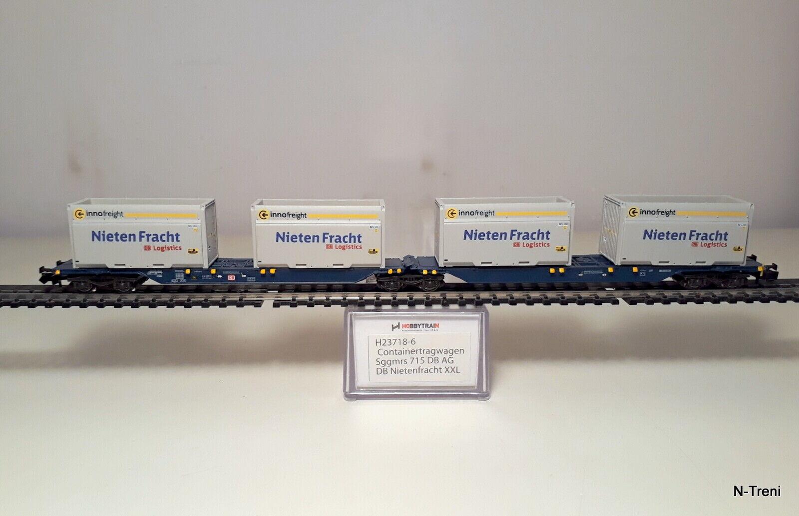 Envío 100% gratuito Hobbytrain N H23718-6 - - - Portacontainer Sdggmrs 715 DB e 4 container Nietenfracht  mejor servicio