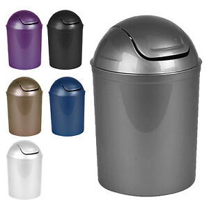 5l Plastic Bin Swing Lid Food Waste, Bathroom Trash Can With Swing Lid