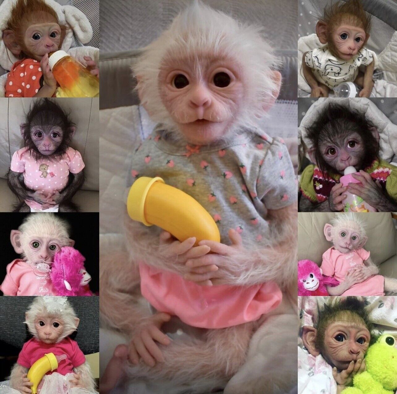 Silicone Eco 20 BLANK Monkey Doll Kit 19in Snowflake sculpt by Sherry Bowden
