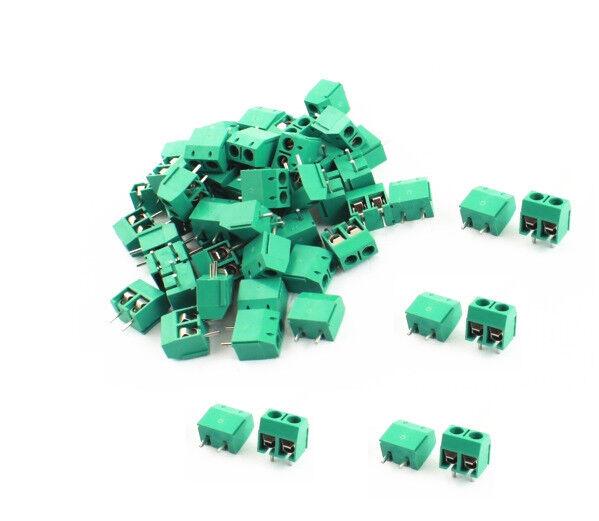 50PCS KF301-2P 2 Pin Plug-in Screw Terminal Block Connector 5.08mm Pitch Green