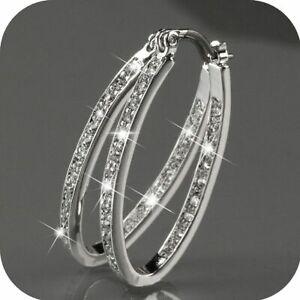 Women-039-s-925-Silver-Filled-CZ-Crystal-Big-Hoop-Huggie-Earrings-Wedding-Jewelry