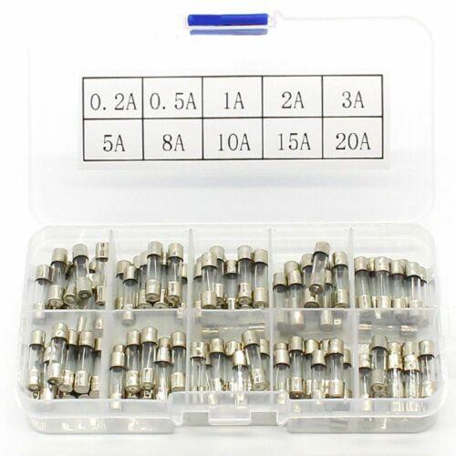 1X 100 Stücke Set 5x20mm Schnelle Blow Glasrohr Sicherung Verschiedene U1T2