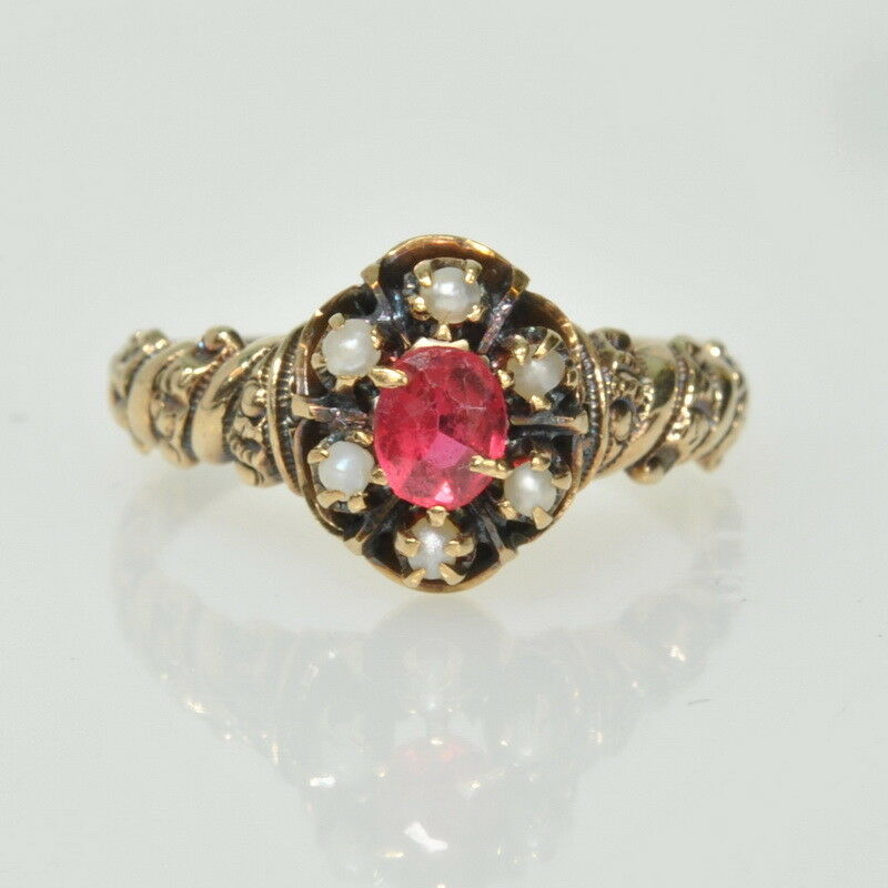 Antique Victorian 9k Ct gold Embossed Red Spinel Seed Pearl Estate Ring