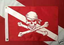 "Pirate flag Diver Down Red 12x18"" atv boat spearfish scuba dive equip #520 GIFT"